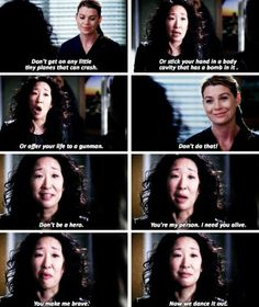 """Now we dance it out."" Cristina Yang to Meredith Grey, Grey's Anatomy Season 10 finale quotes - ♡ Greys Anatomy Funny, Grey Anatomy Quotes, Grays Anatomy, Greys Anatomy Season 1, Anatomy Humor, Tv Quotes, Movie Quotes, Funny Quotes, Fandom Quotes"