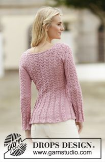 """Knitted DROPS jacket with lace pattern in """"Muskat"""". Size: S - XXXL. ~ DROPS Design free pattern."""