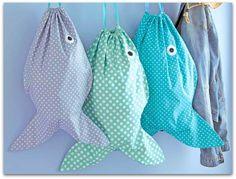 Sew Very Fishy Drawstring Laundry Sacks