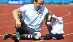 Harley, four, lost his four limbs to meningitis but has fought his way back to health, and was delighted to get a little bit of encouragement from his hero - paralympic star Oscar Pistorius.