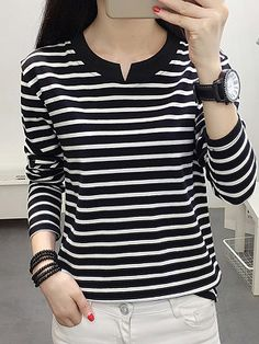 Round Neck Patchwork Brief Striped Long Sleeve T-Shirt - Top clothes Women's Fashion Dresses, Casual Dresses, Fashion Styles, Fashion Ideas, Striped Shorts, Street Style Women, Couture, Clothes For Women, T Shirts For Women