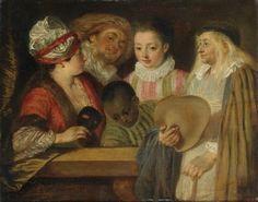 Maskerade, 1717, Jean-Antoine Watteau  Size: 24.8x19.8 cm Medium: oil, canvas