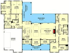 Stylish 4-Bed Modern Farmhouse Plan with Vaulted Master Suite - 51810HZ floor plan - Main Level