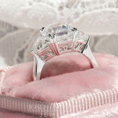 Style 103397 Casablanca custom made three stone ring with trillion side stones and filigree gallery