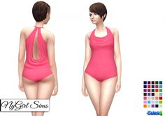 Cowl Back One Piece Swimsuit at NyGirl Sims via Sims 4 Updates