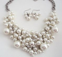 Cluster Pearl Necklace, White Bib Pearl Necklace