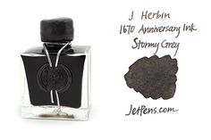J. Herbin 1670 Anniversary Fountain Pen Ink | 50 ml Bottle | Stormy Grey | Stormy Grey is a deep coal grey color that contains flecks of gold, reminiscent of the dark and wild oceans J. Herbin encountered on his many voyages. The fine gold particles in the ink evoke the reflection of lightning across the water as well as the dark, mysterious depths of the oceans. | $27.00