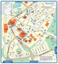 Map of Doncaster created in 2011 for Thomson Directories. One of approximately 350 UK town and city maps produced royalty free. Find out more...  http://www.pcgraphics.uk.com   or read our blog...    http://www.pcgraphics.uk.com/blog/