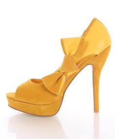 $30 Amazon.com: Yellow Velvet Faux Leather Peeptoe Cutout Bow Platform Pump Heels: Shoes