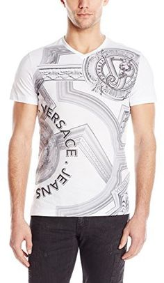 Versace Jeans Men/'s Medium Grey Logo Graphic Print V-Neck T-Shirt