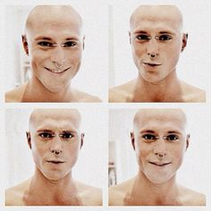 Rick Genest. Still good looking without the tattoos that give the illusion of a chiseled jawline. Adorable smile & dimples!