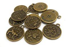 Zodiac Charms Full Set of 12 bronze brass by OliviaMadisonCompany (Craft Supplies & Tools, Jewelry & Beading Supplies, Charms, charm, metal charms, charm bracelet, findings, bronze charm, olivia madison, bronzetone charm, zodiac charm, astrology charm, horoscope charm, zodiac charm set, brass zodiac charm, bronze zodiac charm)