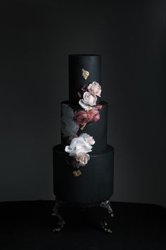 Black wedding cake black cake ideas by Hey There, Cupcake! in San Diego