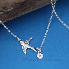 Monogrammed Bird Necklace  Sterling Silver Flying bird by MonyArt, $26.80