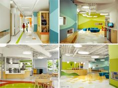 The Architecture of Early Childhood: This centre combines a community garden for sustainable living Daycare Design, Classroom Design, School Design, Classroom Decor, Colour Architecture, Education Architecture, Kindergarten Design, Small Fireplace, Learning Spaces