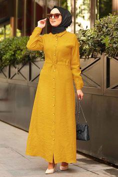 daily dress me Nayla Collection - Dmeli Hardal Tesettr Elbise Muslim Dress, Hijab Dress, Hijab Outfit, Hijab Wear, Frock Fashion, Hijab Fashion, Fashion Dresses, Women's Dresses, Hijabi Gowns