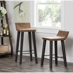 Kosas Home Tam Rustic Brown Elm Wood and Iron Low Back 24-inch Counter Stool - 15656614 - Overstock - Great Deals on Kosas Collections Bar Stools - Mobile