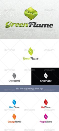 GreenFlame Logo #GraphicRiver GreenFlame Logo symbolizes fire and is not tied to the color. Depending on the color, it can symbolize different ideas. For example green flames – the environment, natural resources, etc. Blue – hydro energy, communications and hydrogen or something else. You can easy change color for logo. Font used: lobster – .dafont /lobster.font Unique Logos Badges Created: 8October12 GraphicsFilesIncluded: PhotoshopPSD #TransparentPNG #VectorEPS #AIIllustrator Layered: Yes…