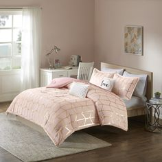 Intelligent Design Khloe Blush/ Printed Metallic Dot Gold 5-piece Comforter Set
