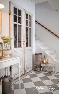entry way to staircase, french country interior style, french rustic, vintage inspired french country cottage Farmhouse Paints Farmhouse Fabrics & Rugs French Country Interiors, French Country Cottage, French Country Style, Cottage Style, Country Cottages, Country Living, Country Charm, Country Decor, Farmhouse Decor