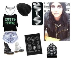"""""""School with Ricky horror ❤️❤️❤️❤️❤️"""" by ourchemicalhorizon ❤ liked on Polyvore featuring Dr. Martens, Wet Seal, S'well, Mi-Pac, Mes Demoiselles..., motionlessinwhite, MIW and Rickyhorror"""