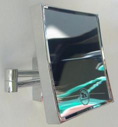 3 times magnification Square Chrome wall mount magnifying mirror.