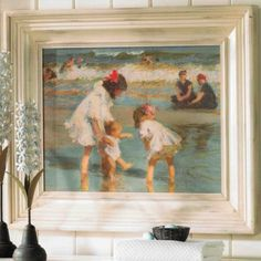 Already hanging in entryway bathroom Children Playing at the Seashore Print Ballard Designs Something's Gotta Give House, Beach Print, Landscape Prints, Wall Decor, Wall Art, Ballard Designs, Decoration, Kids Playing, Artsy
