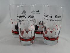 Set of 4 Vintage Bowling Glasses, Tom Collins Tall Glasses, Kitschy Barware, 1970s by SlyfieldandSime on Etsy