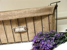 burlap lined wire basket