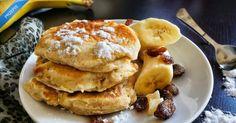 Bananowe racuszki drożdżowe Vegetarian Lunch, Lunch Recipes, Pancakes, Brunch, Dinner, Breakfast, Sweet, Food, Desserts