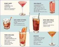 Classic Gin Cocktails: Pink Lady, Gin Daisy, Gin and Bitters, Gin and Cola, Tom Collins, Bronx