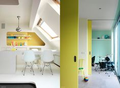 This mainly white interior is accentuated with pastel touches of yellow, yellow-green, and light blue. The overall mood is consequently light and jovial. The colour scheme is further put in focus by the lamp's chrome addition and the neutral and natural wood elements.