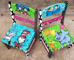Dr Seuss Childrens chairs Set of Two by LaurieColeDesigns on Etsy