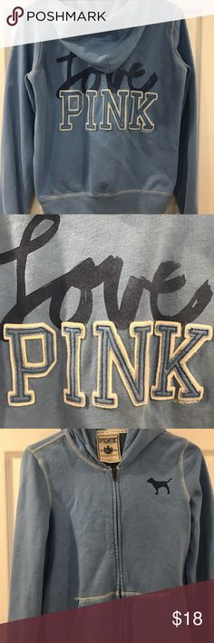 Victoria Secrets pink hoodie Victoria Secrets pink hoodie in light baby blue! Used size medium PINK Victoria's Secret Tops Sweatshirts & Hoodies