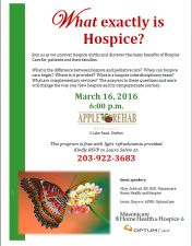 What exactly is Hospice? workshop @ Apple Rehab at Shelton Lakes March 16, 2016 at 6:00 pm