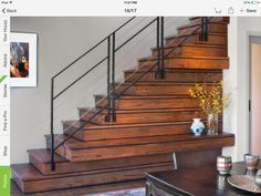 Large vertical timber a stairs pinterest - Staircases with integrated bookshelves ...