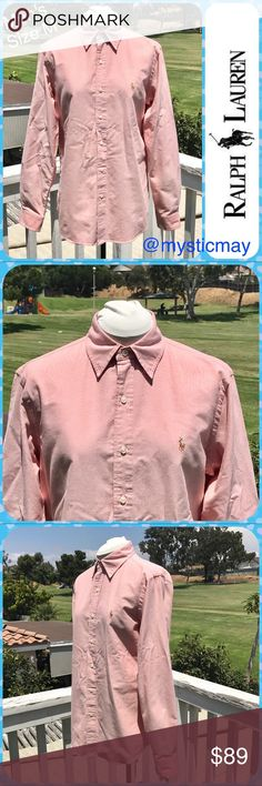 """POLO RALPH LAUREN Heathered Pink Button-Up Shirt M Looks Like New! Heathered pink shirt from Ralph Lauren with buttoned collar and long sleeves. Classic fit with buttoned cuffs that look great when rolled up. 100% Cotton. Men's Size Medium. Measures 22"""" across the chest and 18"""" across the shoulders. Length: 30"""". A nice shirt! Polo by Ralph Lauren Shirts Casual Button Down Shirts"""