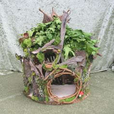 Green leaved fairy or gnome house\/cottage. $150.00, via Etsy.