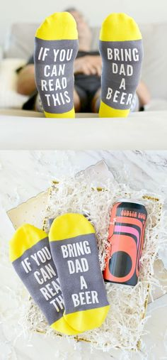 Bring Dad A Beer Socks - These easy DIY socks make a fun Father's Day gift when paired with dad's favorite beer and control of the remote! Homemade Gifts For Dad, Funny Gifts For Dad, Diy Gifts For Boyfriend, Gifts For Kids, Dad Gifts, Christmas Presents For Dad, Presents For Best Friends, Best Christmas Gifts, Christmas Ideas For Dad