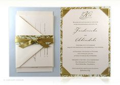 baroque, italian, gilt, luxury wedding invitation, letterpress, gold