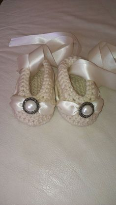 infant baby girl ballet booties crochet slippers vanilla with matching ribbon and pearl button on Etsy, $12.00