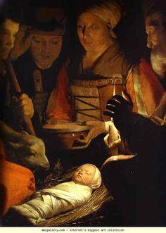 Georges de La Tour. The Adoration of the Shepherds. Detail. Olga's Gallery.