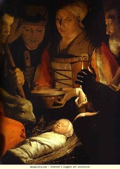 Georges de La Tour. The Adoration of the Shepherds. Detail. Olga's Gallery.