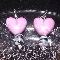 Purple and Black Heart Earrings by reddirtroseokc on Etsy