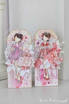 """These two """"Candie"""" tags are ready for springtime with their sweet pastel dresses. Created by Marta Piekarczyk, they are simply beautiful! #summertime #julienutting #tags #candie"""
