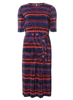 Dorothy Perkins Womens Multi Stripe Pleated Midi Dress- Blue Multi stripe pleated midi dress. Wearing length is approximately113cm. 90% Polyester, 10% Elastane. Machine washable. http://www.MightGet.com/january-2017-13/dorothy-perkins-womens-multi-stripe-pleated-midi-dress-blue.asp