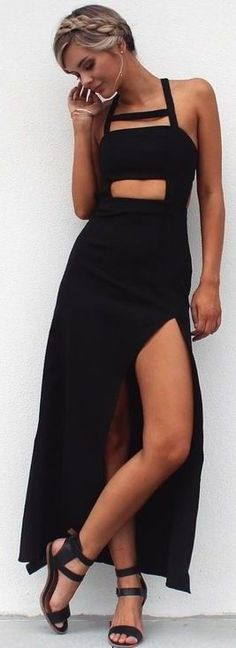 #summer #musthave #outfits | Black Maxi Dress