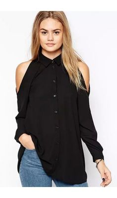 LUCLUC Fashionable Off-the-Shoulder Chiffon Blouse
