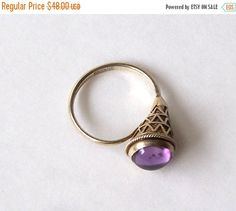 Silver Amethyst Cabochon Ring Size 7 Cone by MargsMostlyVintage