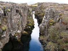 between two tectonic plates at Pingvellit